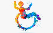 42551113 - happy invalid people. life-asserting watercolor sign. vector